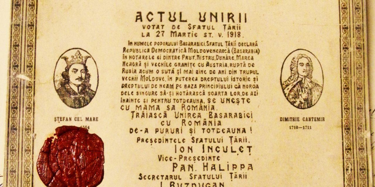 100 de ani de la actul istoric al unirii Basarabiei cu România